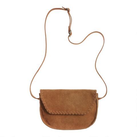 Brown Suede Convertible Crossbody Belt Bag