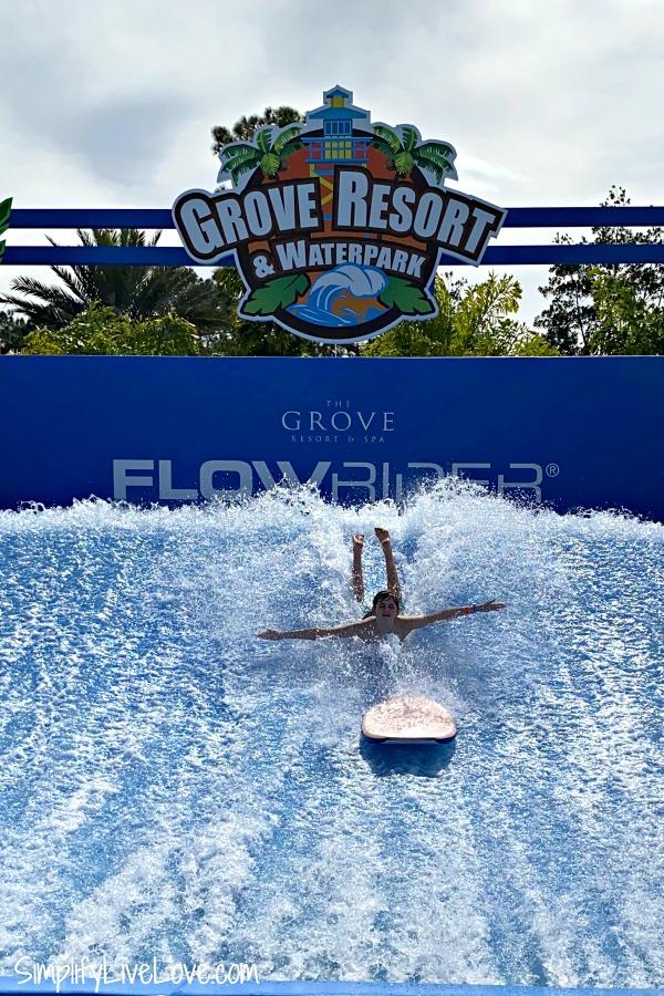 flowrider at the grove resort