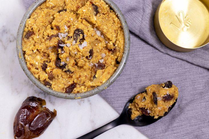 Healthy Oatmeal Raisin Vegan Edible Cookie Dough