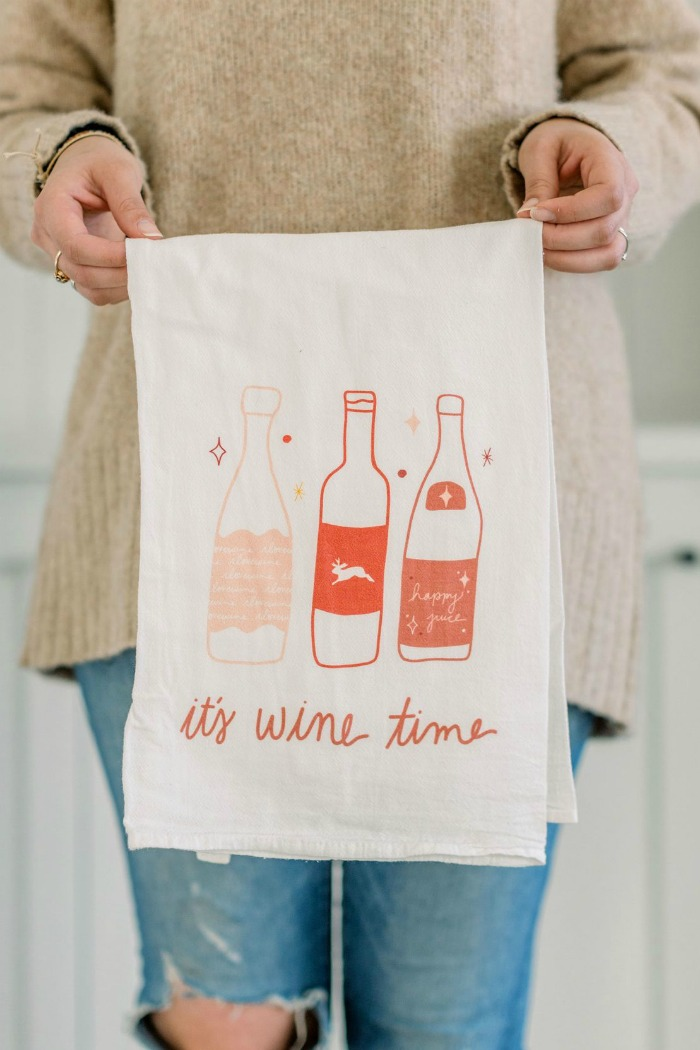its wine time tea towel