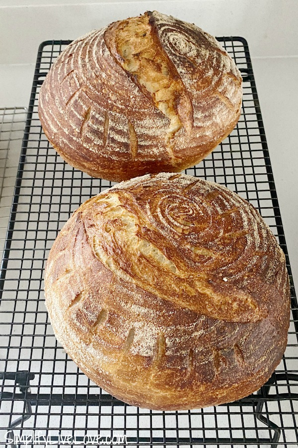 2 baked loaves of sourdough bread