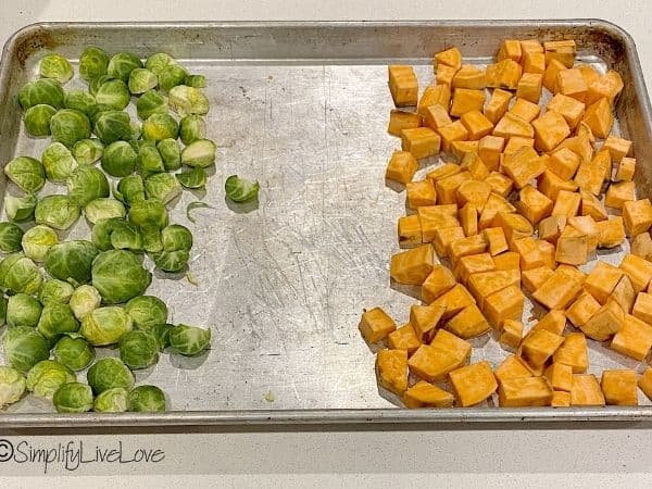 brussels sprouts and sweet potatoes on sheet pan