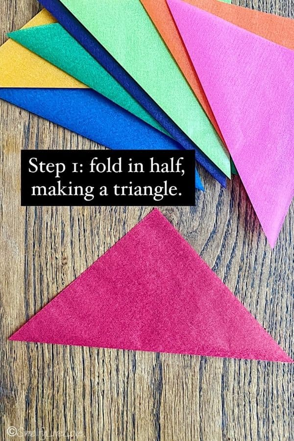 step one - fold kite paper in half